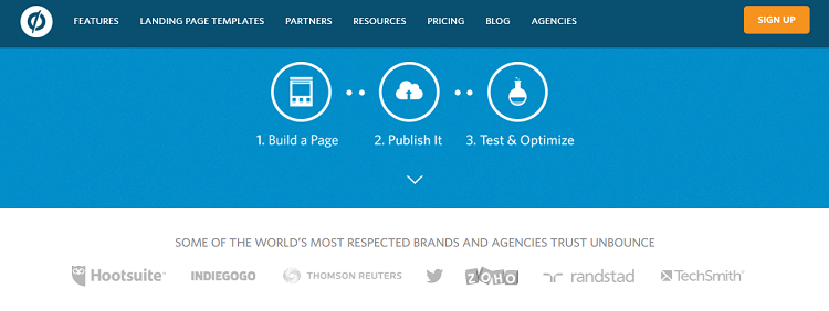 Social Proof: Unbounce highlights service users